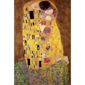 Plakát, Obraz - Gustav Klimt - polibek, (61 x 91,5 cm)
