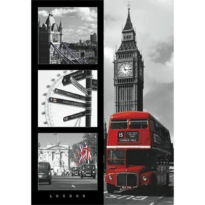 London red bus 3D Plakát, 3D Obraz, (47 x 68 cm)