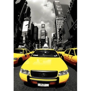 New York - yellow cabs 3D Plakát, 3D Obraz, (30 x 42 cm)