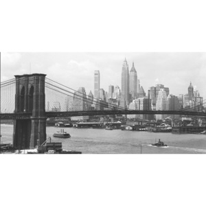 Obraz, Reprodukce - New York - Manhattan skyline and Brooklyn bridge, PHILIP GENDREAU, (140 x 70 cm)