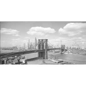 Obraz, Reprodukce - Brooklyn Bridge & City Skyline 1938, Gendreau, (100 x 50 cm)