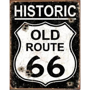 Plechová cedule OLD ROUTE 66 - Weathered, (31,5 x 40 cm)