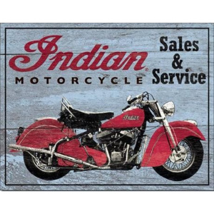 Plechová cedule INDIAN MOTORCYCLES - Parts and Service, (40 x 31,5 cm)