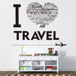 Decor4Walls Samolepka na zeď AY8378 I love travel 70x50cm