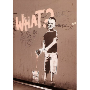 Plakát, Obraz - Banksy street art - what? graffiti, (42 x 59 cm)