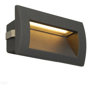 Big White 233625 SLV Downunder Out LED M, antracitové zápustné svítidlo do stěny, 3,3W LED, 3000K, 14x7cm, IP55