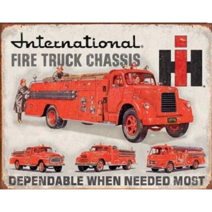 Plechová cedule INTERNATIONAL FIRE TRUCK CHASS, (41 x 32 cm)