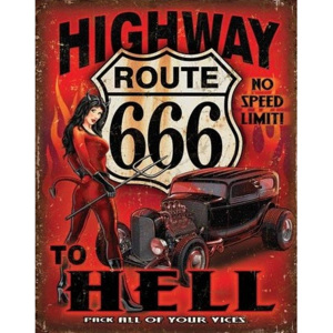 Plechová cedule Route 666 - Highway to Hell, (30 x 42 cm)
