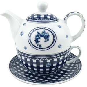 Home Elements čajový set porcelán Elegant blue třídílný 0,34 l + 0,4 l
