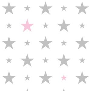 Tapety White & Grey & Pink 15 cm and 7 cm Stars