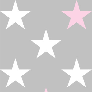Tapety Grey & White & Pink 33 cm Stars