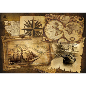 Fototapeta Vintage Ships and Maps
