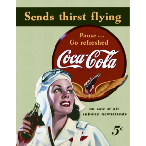 Plechová cedule: Coca-Cola (send thirst flying) - 40x30 cm