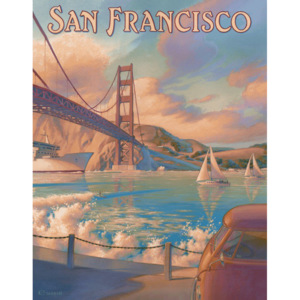 Plechová cedule: San Francisco (Golden Gate Bridge) - 40x30 cm