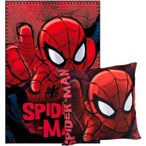 ELI Polštář Spiderman + fleece deka Spiderman sada 2ks