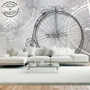 Bimago Fototapeta - Vintage bicycles - black and white 100x70 cm