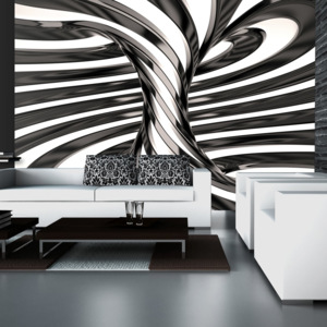 Bimago Fototapeta - Black and white swirl 150x105 cm
