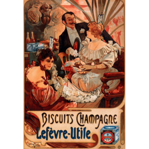 Plechová retro cedule Alfons Mucha Biscuits Champagne S