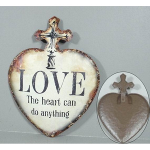 Plechová vintage cedule Srdce - Love The heart do anything 19SP46