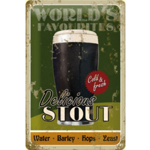 Plechová cedule World's Favorites delicious stout pivo PC