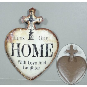 Plechová vintage cedule Srdce - Bless Our Home - with love and laughter 19SP46