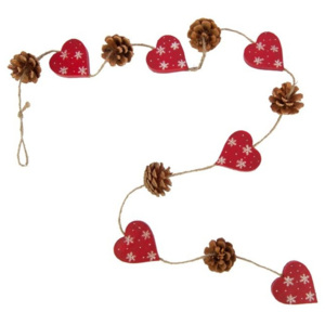 Girlanda 6 srdíček a šišek Antic Line Hearts and Pinecones