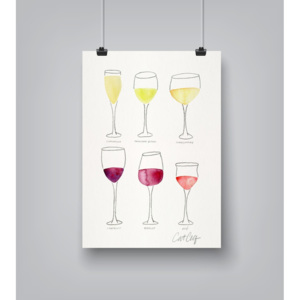 Plakát Americanflat Wine Glass Collection by Cat Coquillette, 30 x 42 cm