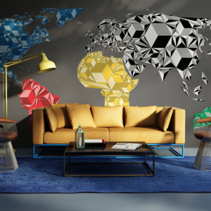 Fototapeta - Map of the World - colorful solids - 450x270