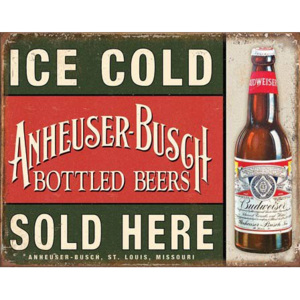 Plechová cedule: Ice Cold Anheuser-Busch Sold Here - 30x40 cm