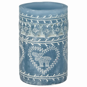 Svíčka Pillar dusty blue 12 cm