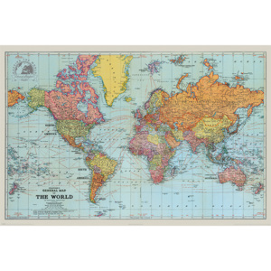 Plakát, Obraz - Stanfords General Map Of The World - Colour, (91,5 x 61 cm)