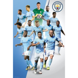 Plakát, Obraz - Manchester City - Players 17/18, (61 x 91,5 cm)