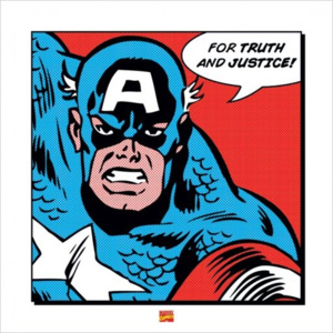Obraz, Reprodukce - Captain America - For Truth and Justice, (40 x 40 cm)