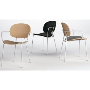 INFINITI - Židle TONDINA 4 LEGS WITH ARMS UPHOLSTERED PANEL