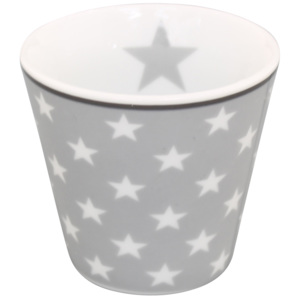 Porcelánový hrnek na espresso Light grey star (ES46)