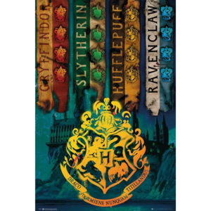 Plakát, Obraz - Harry Potter - House Flags, (61 x 91,5 cm)