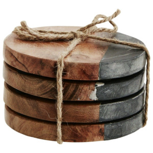 Kulaté podtácky Wood/black marble - set 4 ks