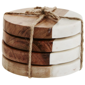 Kulaté podtácky Wood/white marble - set 4 ks