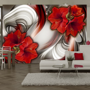 Bimago Fototapeta - Amaryllis - Ballad of the Red 100x70 cm