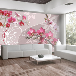 Bimago Fototapeta - Flight of pink orchids 150x105 cm