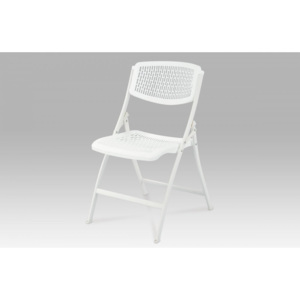 Folding chair, white pp, powder coated legs in white