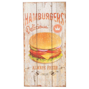 Dřevěná cedule Hamburgers delicious always fresh