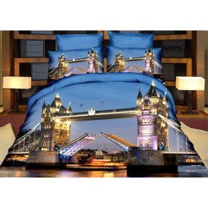 Povlečení NIGHT TOWER BRIDGE 3D set 3 ks, 1x 140x200 cm, 2x povlak 70x80 cm MyBestHome