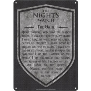 Plechová cedule Game Of Thrones - Nights Watch, (15 x 21 cm)