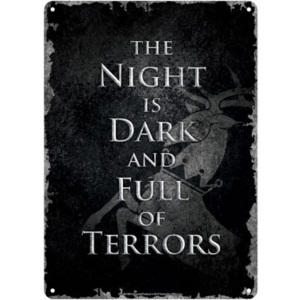 Plechová cedule Game Of Thrones - Night Dark, (15 x 21 cm)