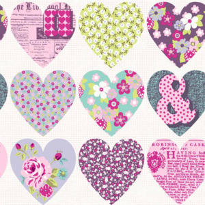 Arthouse Tapeta na zeď - Arthouse Patchwork Heart Patchwork Heart Purple