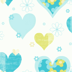 Arthouse Tapeta na zeď - Arthouse Happy Hearts Happy Hearts Teal/Green