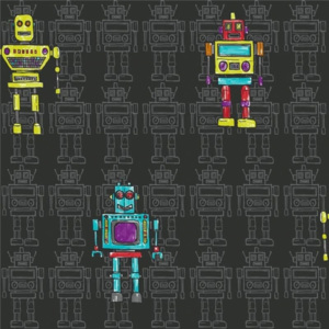 Arthouse Tapeta na zeď - Arthouse Retro Robot Retro Robot Black