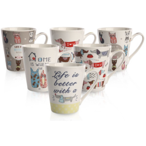 Sada porcelánových hrnků Cats and Dogs 290 ml, 6 ks