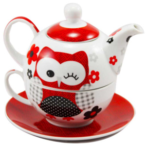 Home Elements čajový set porcelán tea for one Červená sova třídílný 0,34 l + 0,4 l